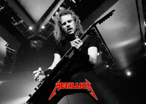 METALLICA - JAMES HETFIELD RED LOGO / canvas print - self adhesive poster - photo print